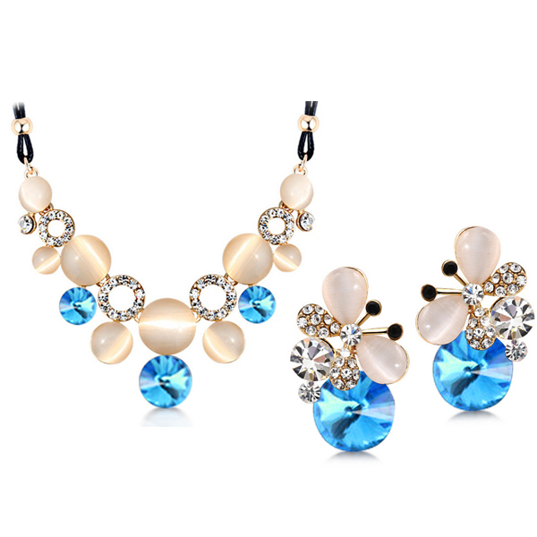 Women Austrian Crystal Opal Jewelry Set