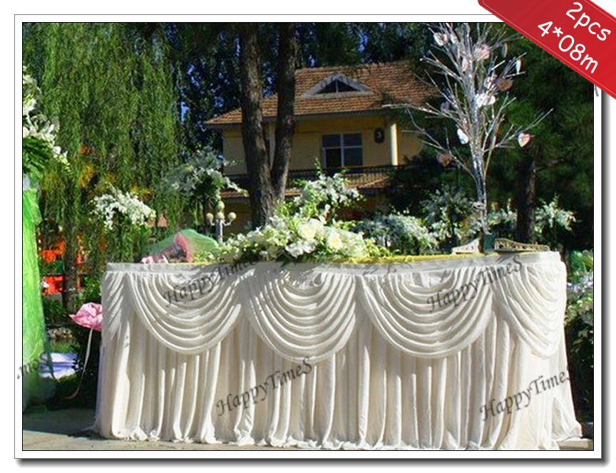 Wedding Decoration 2pcslot 408m Silk Ruffled Table