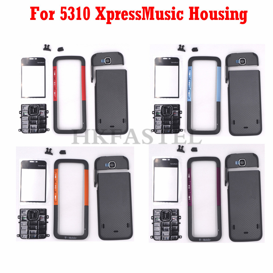 HKFASTEL New Original Housing For Nokia 5310 XpressMusic Front LCD Cover Back Battery Case + English Keypad Tools Free Shipping