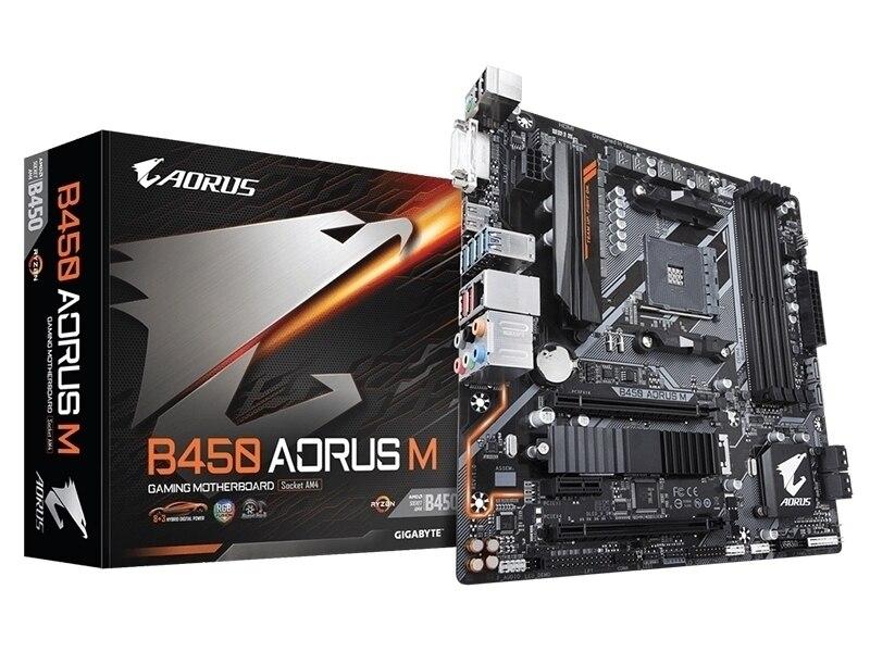 Novo Gigabyte B450 AORUS M originais motherboard Socket AM4 DDR4 DVI HDMI 64 GB GA-B450 AORUS M motherboard de desktop livre grátis