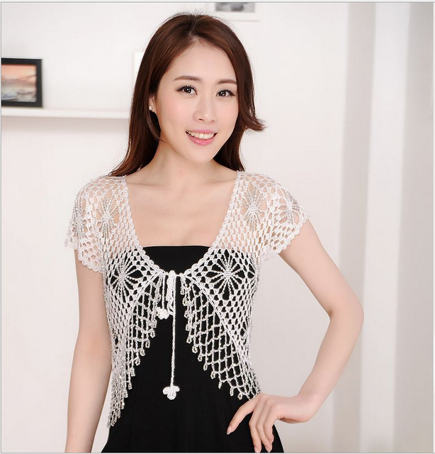 c09558bac893 Plus Size 2017 fashion Women s Short Sleeve Crochet Shrug Lace Hollow Out  Many colors Tassel Sweater Cape Cardigan Shurg w309