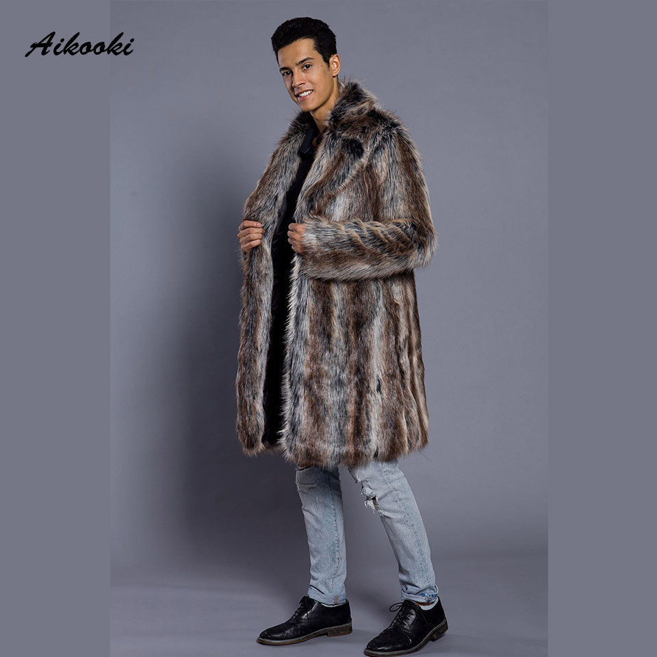 Men Thick Fur Coats Winter Faux Fur Outwear Men's Gradient color Jackets Long Leather Overcoats Faux Leather High end Clothing