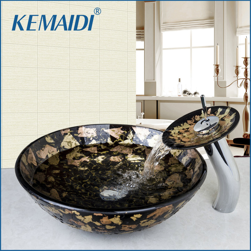 KEMAIDI Europe Design Wash basin Tempered Glass Hand Painted Bowl Tap Lavatory Bathroom Sink Bath Brass