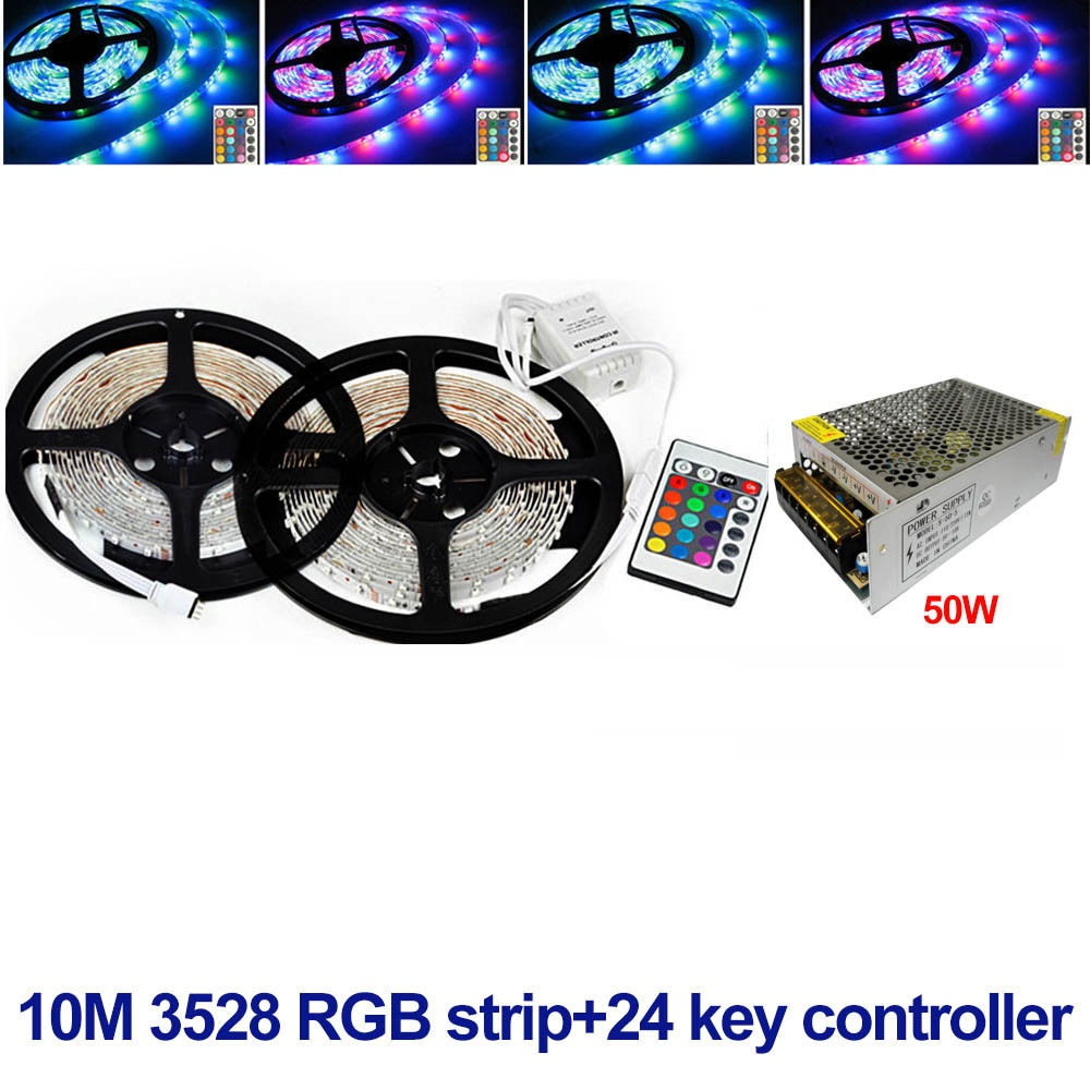 10m led strip 3528 non waterproof ip20 <font><b>dc</b></font> <font><b>12v</b></font> fita de and 24keys ir remote controller and <font><b>50w</b></font> adapter supply image