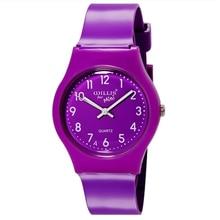 Уиллис детский мультфильм часы яркий Цвет Стильный Аналоговые часы желе часы, фиолетовый