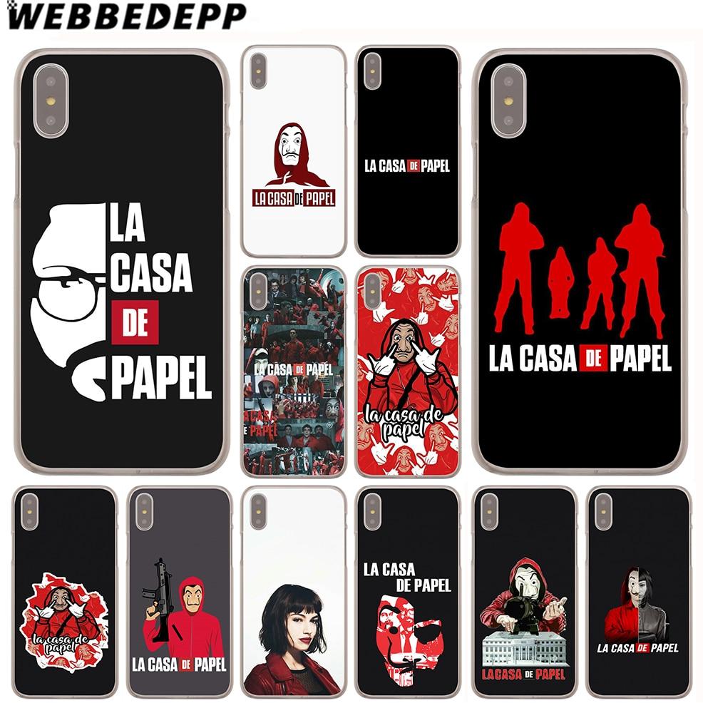 WEBBEDEPP Casa De Papel Case for Apple iPhone 4 4S 5C 5S SE 6 6S 7 8 Plus 10 X Xr Xs Max 6Plus 7Plus 8Plus