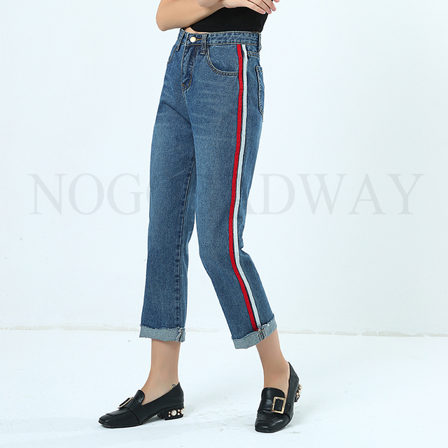 Side Stripe Boyfriend Jeans For Women Spring Summer Straight Denim Pants  Casual Loose Woman Ladies Washed 8df6a8750cd8