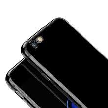 Ультра Тонкий Для iPhone 7 Дело Джет Черный Глянцевый Красный Черный конфеты Цвет Гибкая Крышка для iPhone 7 Плюс Телефон Случаях Охватывает капа