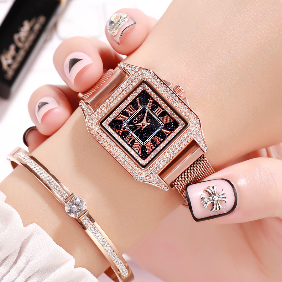 GEDI square retro women watches full rhinestone diamond ladies elegant wristwatch luxury exquisite dress trendy quartz