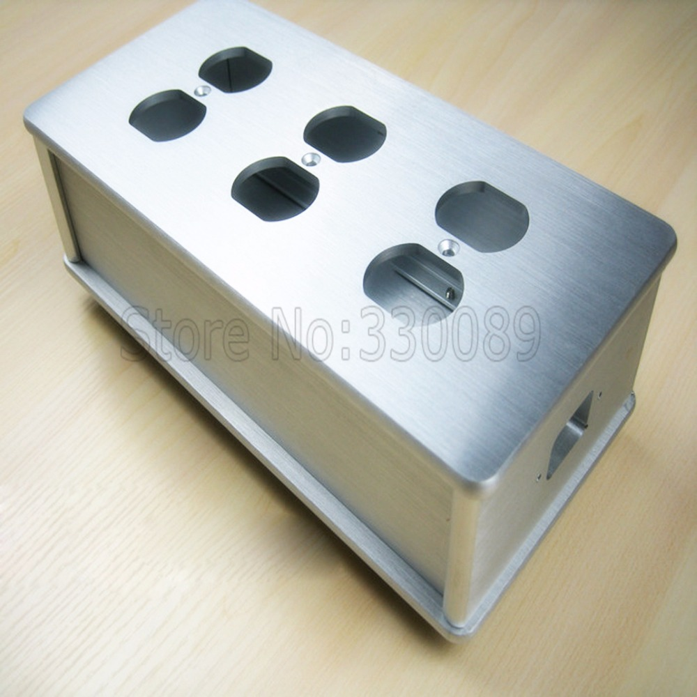 Free shipping one pieces Silver US AC Power Distributor 6 outlet Power supply box With Full Aluminum 5 pieces free shipping ct machine brushes german imports of raw materials with silver graphite 6 6 20mm