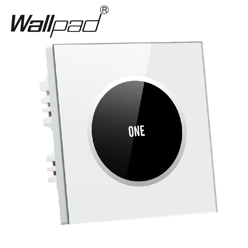 Luxury White Waterproof 1 gang 2 way Glass Panel Touch Light Switch, Free Customize 110V~250V wall touch switch,Free Shipping