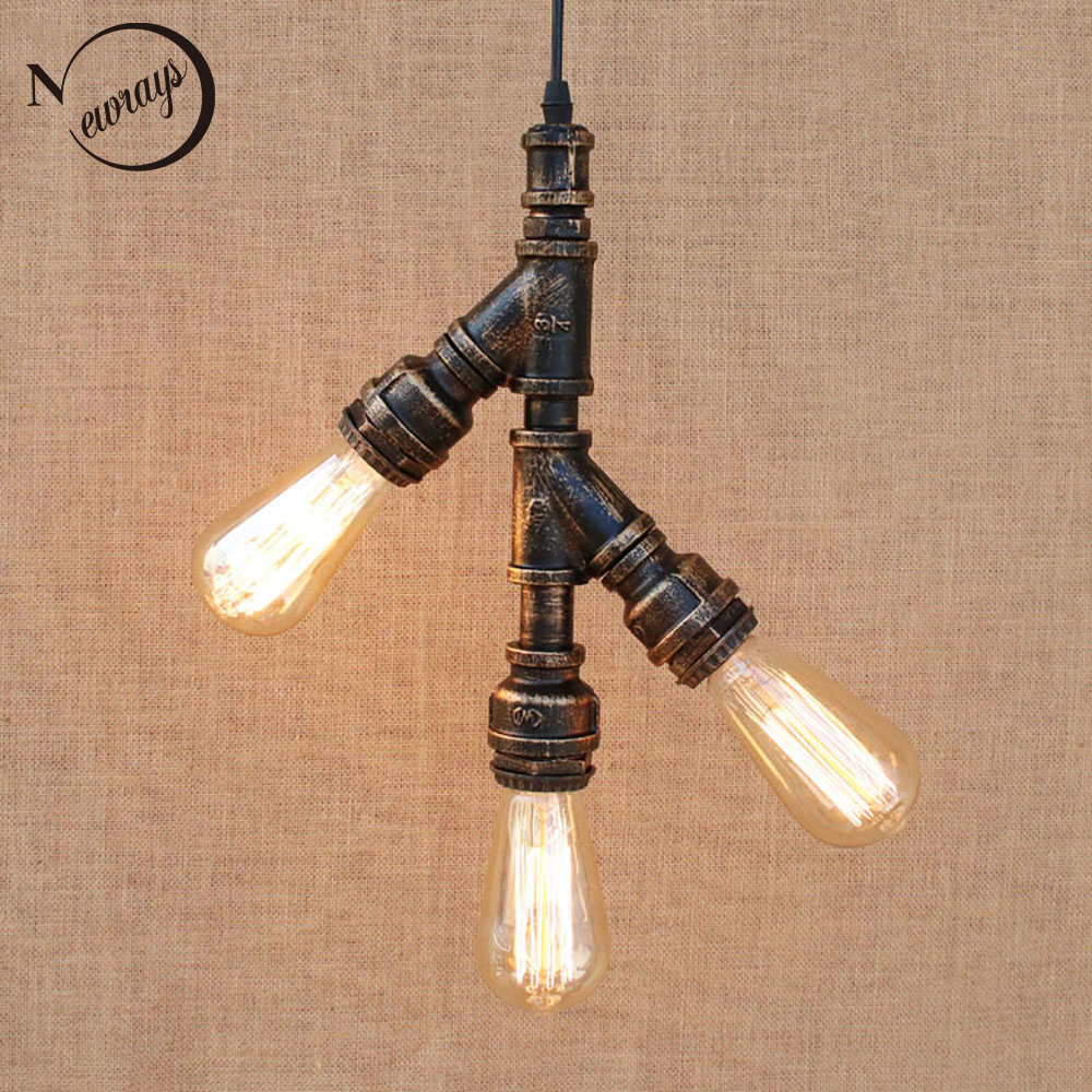 Loft industrial Iron water Pipe Vintage pendant lamp cord e27 3/4 t lights for personalized bar dining room living room cafe