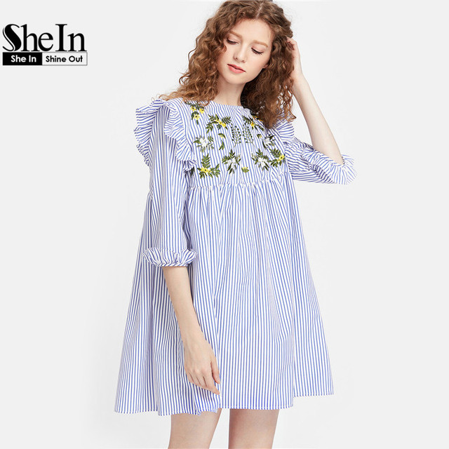 SheIn Embroidery Womens Summer Dresses 2017 Three Quarter Length Sleeve Embroidered Yoke Ruffle Trim Striped Babydoll Dress