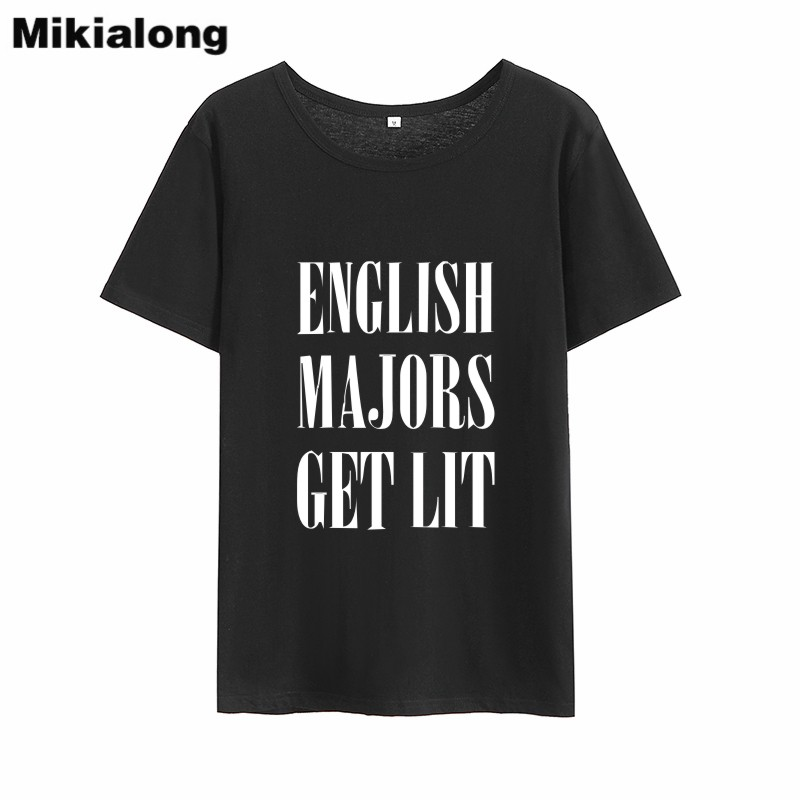 Mikialong inglês majors obter iluminado engraçado t camisas das mulheres 2018 manga curta solta camisa de algodão camisa femme tumblr