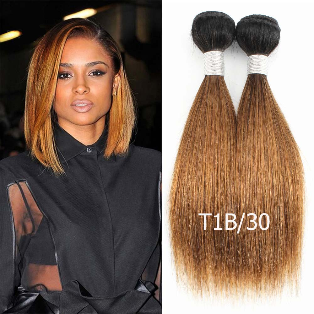 HTB1C0IVO6DpK1RjSZFrq6y78VXab Bobbi Collection 4/6 Bundle with Closure 50g/pc Brazilian Ombre Honey Blonde Hair with Lace Closure Straight Remy Human Hair