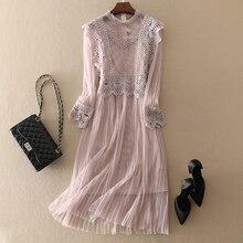 2019 High Quality Women Elegant Lace Dress Casual Long Sleeve Plus Size Women Clothing Female A Line Dresses