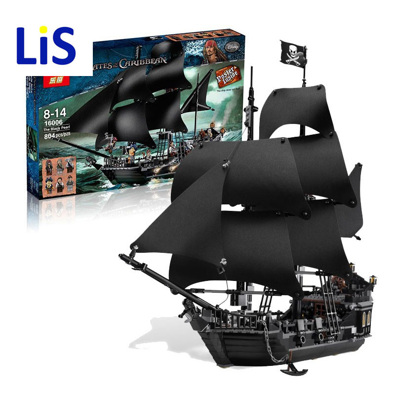 Lis 804Pcs LEPIN 16006 Pirates Of The Caribbean The Black Pearl Ship Model Building Kit Blocks BricksToy Compatible 4184 16006 804pcs pirates of the caribbean the black pearl ship model building kits blocks bricks toys gift 4184