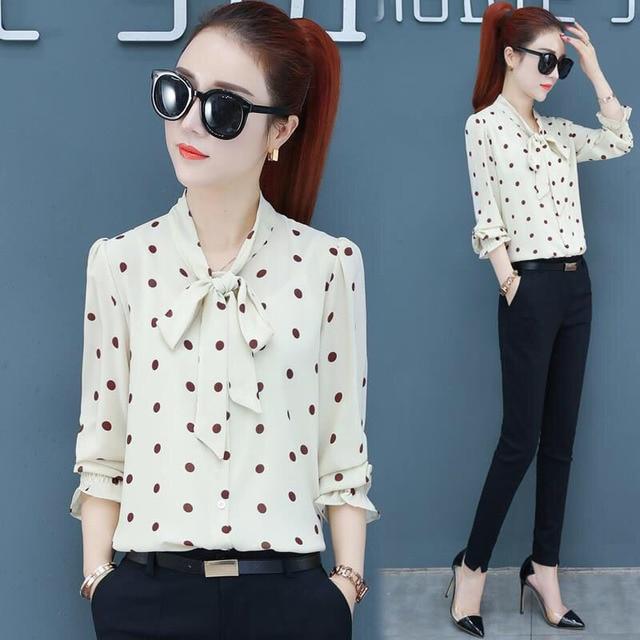 Spring Polka Dot Print Chiffon Blouses Women Lace-up Bow Office Elegant Shirts Tops Long Sleeve V-neck Blusas Mujer DD2614 4