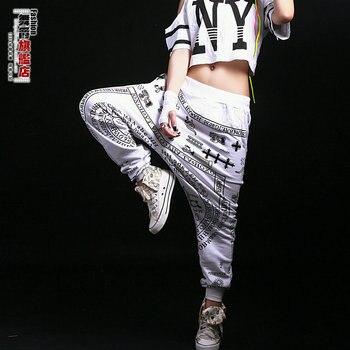 Hiphop hip-hop hiphop sports casual pants black and white scripture costume Women  dress