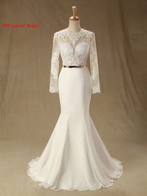 Sexy Mermaid Wedding Dresses With Long Sleeves Open Back Bridal ...