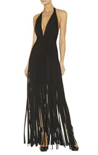 New Dress Black Deep V-Neck Tassel Slim Stretch Sexy nightclub maxi dress Bandage dress (L682)