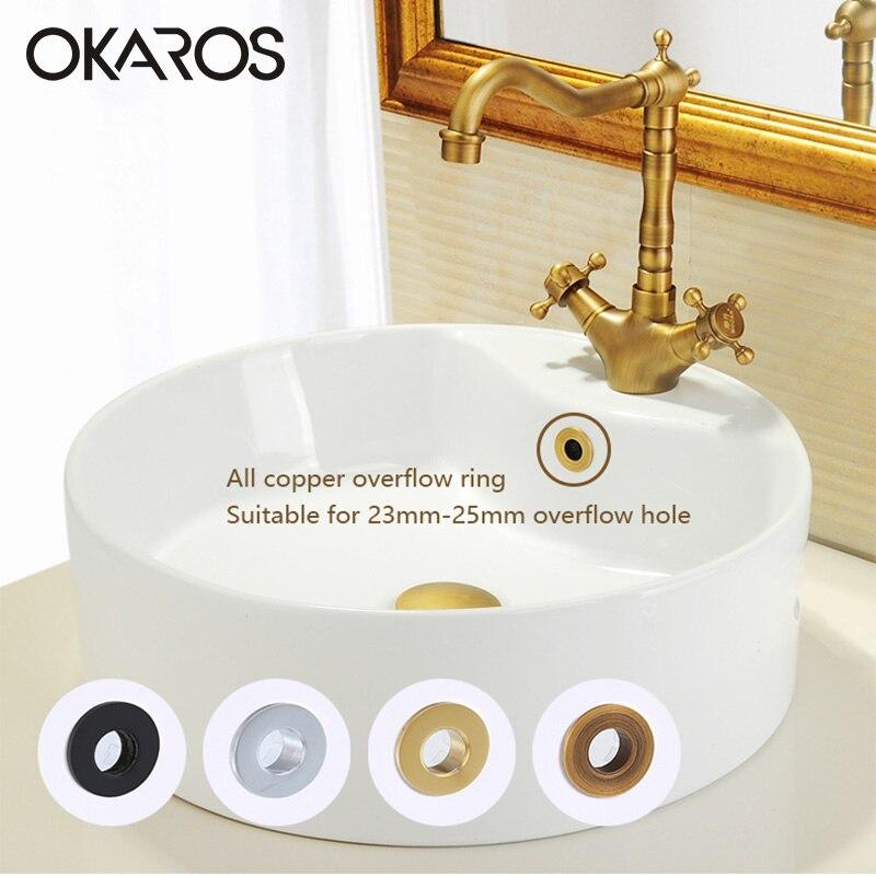 OKAROS Bathroom Basin Sink Overflow Cover Brass Decoration Six foot Ring Bathroom Product Basin Tidy Insert