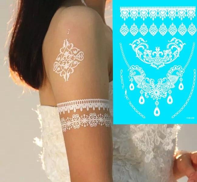 8ks Exquisite Design Krajka Bílá Henna Tattoo Samolepka Butterfly Peří Květina Dočasná Tatoo Tělo Art Tatuagem 9 model Vyberte si