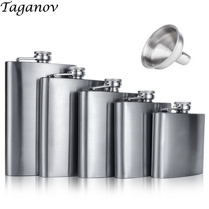 Stainless Steel Hip Flask with Funnel for Liquor Whisky Wine 4 5 6 7 8 9 10 18 OZ Outdoor Portable Pocket Flasks Alcohol Bottle