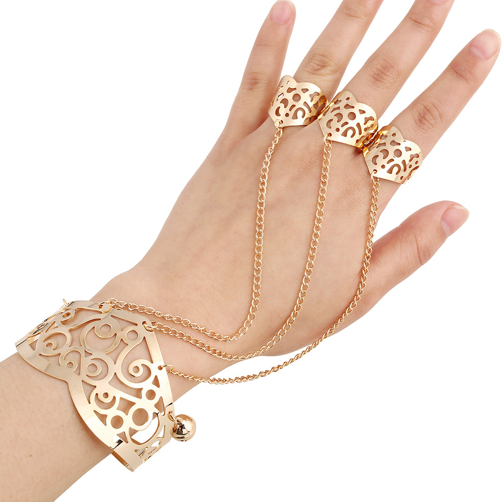 Elegant Fashion Palm Bracelet Hollow Flower Bell Charm ...