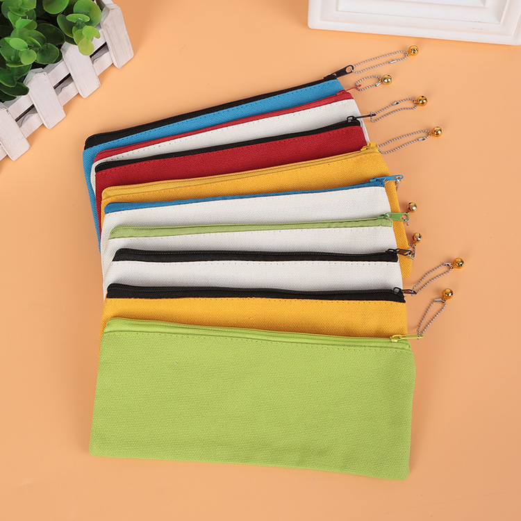 100pcs/set Wholesale Customized Student Canvas Pen Bag Printable Logo Pen Bag Wholesale Factory
