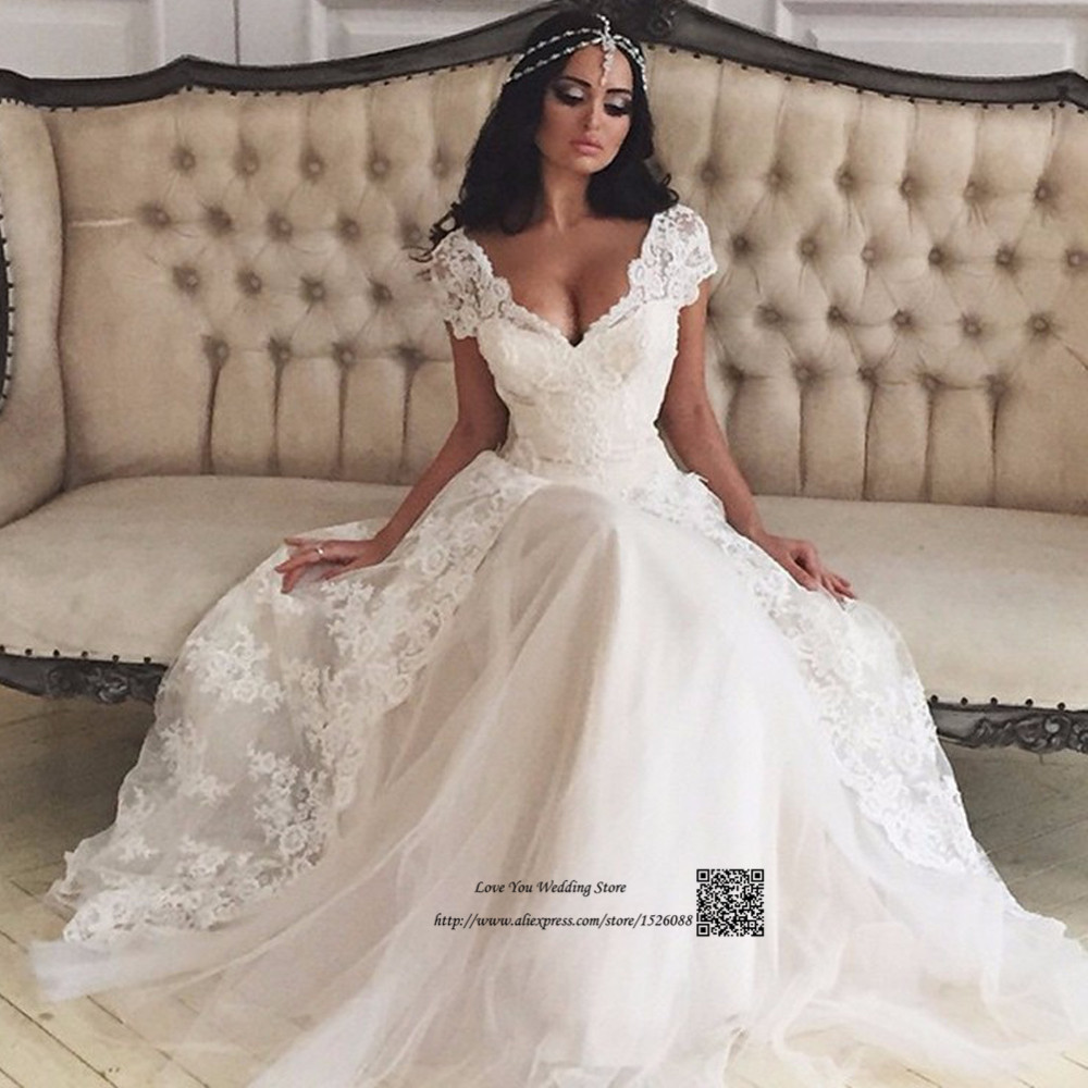 Vintage Bohemian Wedding Dress Lace Made in China Cheap Bride Dresses 2017 Princess Wedding Gowns Vestidos