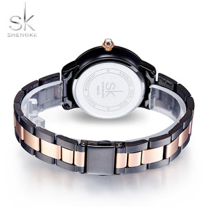 Image 4 - SHENGKE Rose Gold Watch Women Crystal Decoration Luxury Quartz Watch Female Wrist Watch Girl Clock Ladies Relogio Feminino