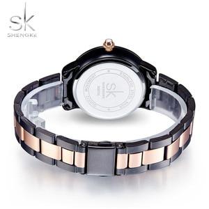 Image 4 - SHENGKE עלה זהב שעון נשים קריסטל קישוט יוקרה קוורץ שעון נשי שעון יד ילדה שעון גבירותיי Relogio Feminino
