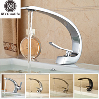 2016 Creative Design Brass Basin Sink Faucet Single Handle Bathroom Mixers Deck Mounted 8 Modles