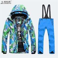 High Experience зима теплая Костюмы ветровка снег Костюмы Mountain Лыжный Спорт Для мужчин и Для женщин один и двойной лыжи куртка и брюки