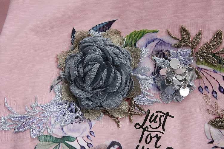 ALPHALMODA 2019 Sommer Frauen Baumwolle kurzarm T-shirts Gebrochen Jeans Schwere-arbeit 3D Floral Baumwolle T-shirts Denim Hosen
