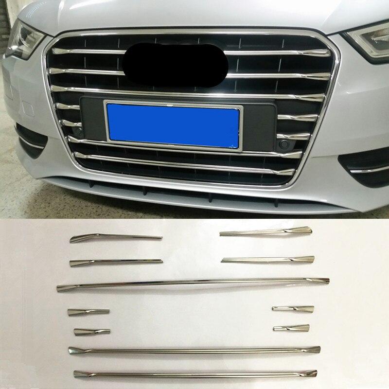 Paslanmaz çelik ön tampon ızgarası ızgara dekor kapak Trim şeritler Audi A3 8V Hatchback Sportback 2014- 2016 araba Styling