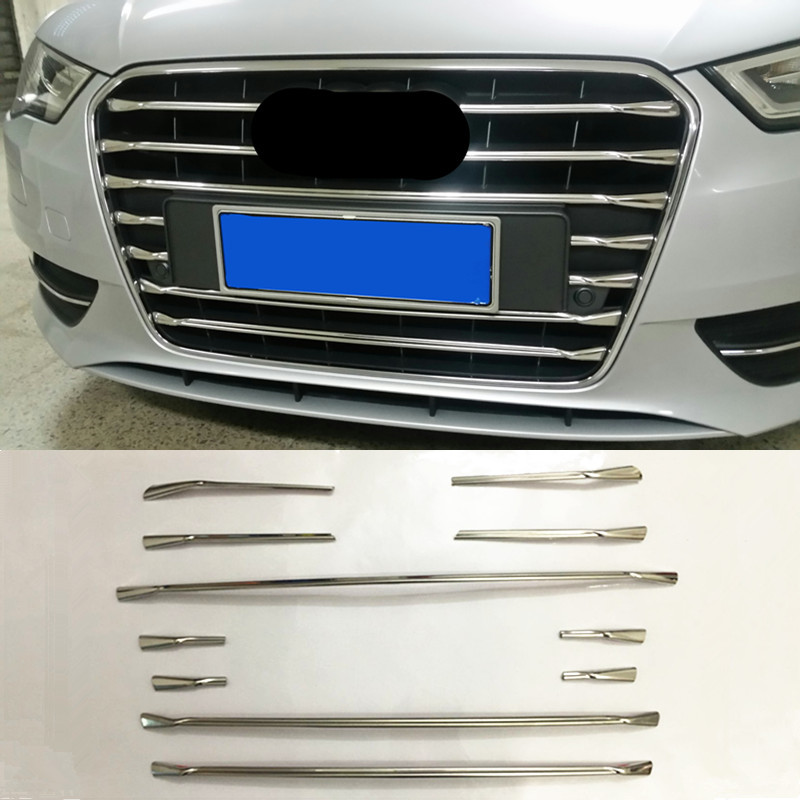 Stainless Steel Front Bumper Air Grille Grill Decor Cover Trim Strips For Audi A3 8V Hatchback Sportback 2014-2016 Car Styling
