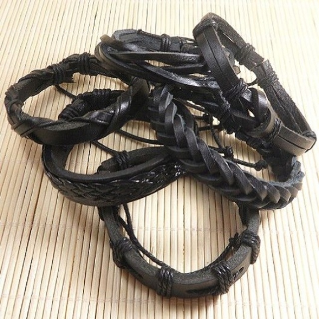 6pcs Handmade Punk Charms Men Braclet For Women Ethnic Tribal Wrap Black Bracelet & Bangle Femme Male Wristband Wrap Jewelry  2