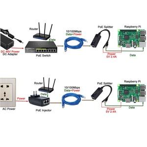 Image 5 - ESCAM 2.5KV Anti interference Power Over Ethernet 48V To 5V 2.4A 12W Active POE Splitter Micro USB Plug for Raspberry Pi CCTV