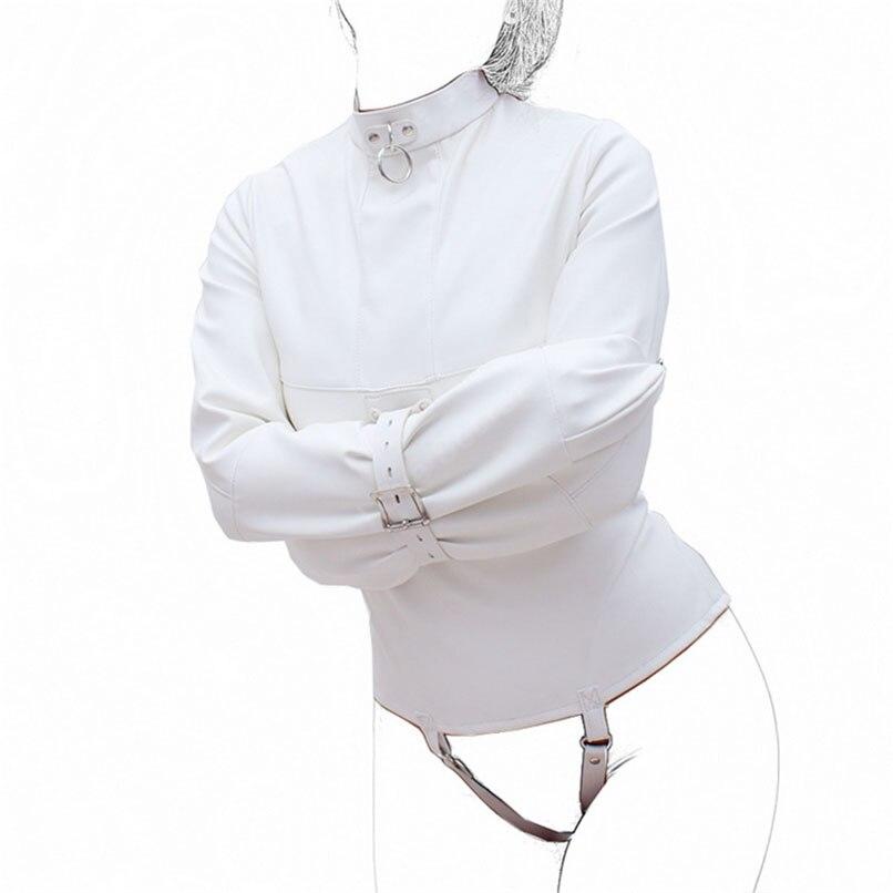 ФОТО Women Straitjacket Faux Leather Strict Bondage Jacket Fetish Costume Sex Training Adult Sex Toy SM Body Harness Fetish Costume