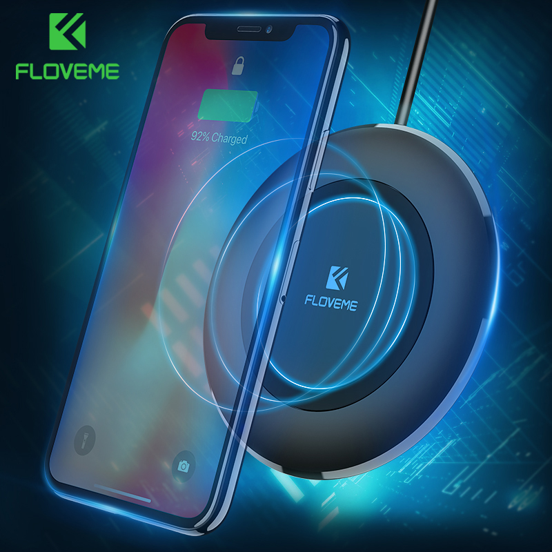 FLOVEME Qi Wireless Charger For Samsung Galaxy S9 S8 Plus Note 8 Mobile Phone QI Charger For iPhone X 8 8 Plus Wireless Charging