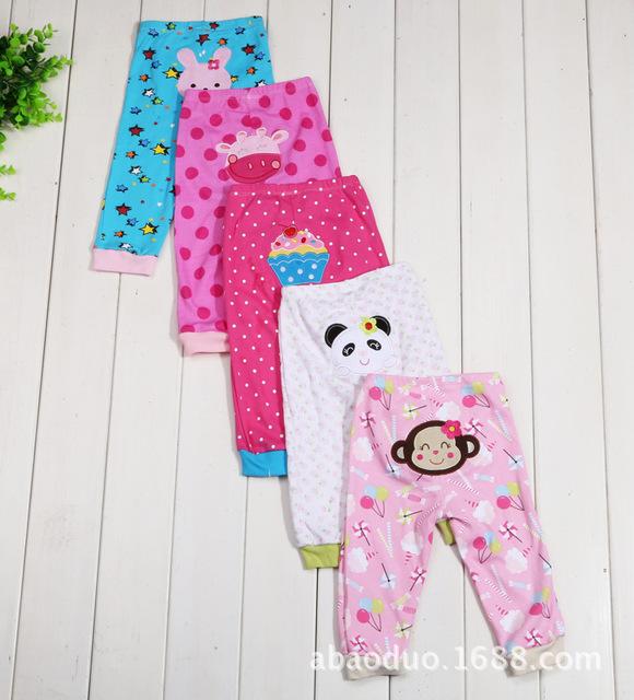 Verão 5 PÇS/LOTE Calças Moda Calças de Algodão Infantil Do Bebê bonito Dos Desenhos Animados Do Bebê Recém-nascido Menino Menina Calças Do Bebê Roupas 0-24 M Bebê