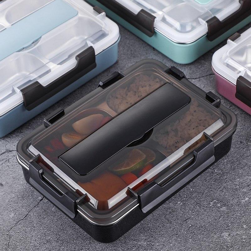 스테인레스 스틸 304 점심 도시락 숟가락 누출 방지 점심 도시락 상자 식기 세트 전자 레인지 성인 어린이 식품 용기