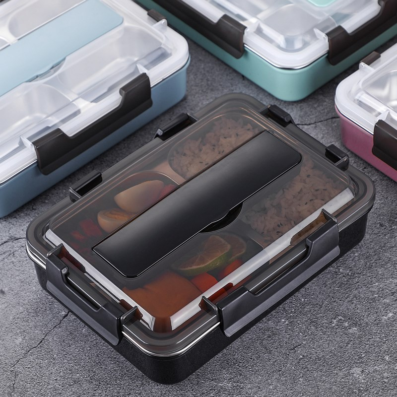 Stainless Steel 304 Lunch Box With Spoon Leak-proof Lunch Bento Boxes Dinnerware Set Microwave Adult Children Food Container Yamaha XSR900