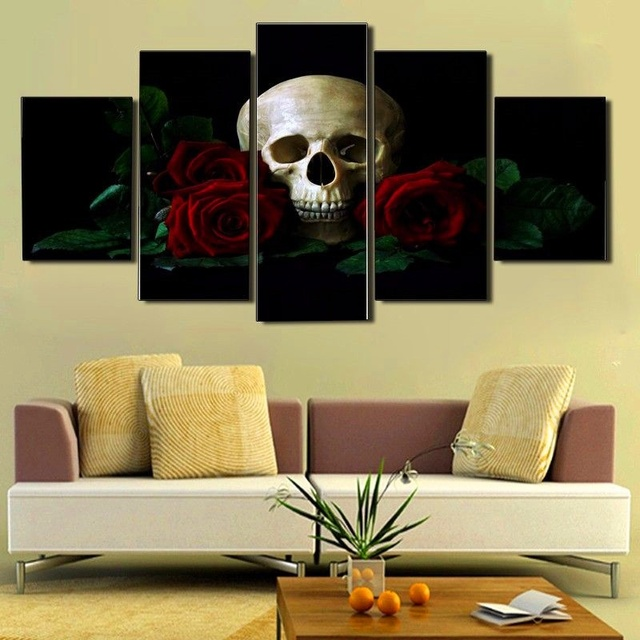 2017 JIE DO ART Canvas Red Rose Sugar Skull With Flowers Print ...