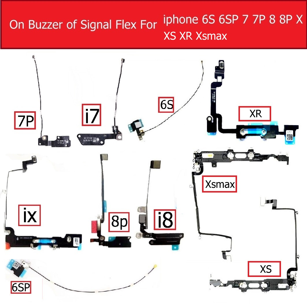 Genuine Buzzer Wifi Antenna Signal Flex Cable For IPhone 6s 7 8 Plus X XS MAX XR Signal Flex Cable LoudSpeaker Replacement Parts