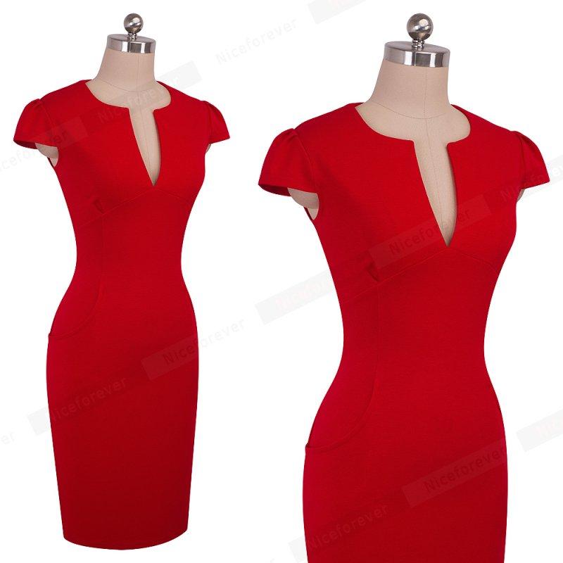 Nice-forever Office Women Vintage Summer Solid Deep V neck Zipper Back Formal Stretch Pencil work Bodycon Pocket Dress 521 4