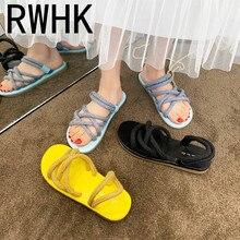 RWHK Straw hemp rope sandals female 2019 summer new Korean version wearing flat bottom two-wear beach B106