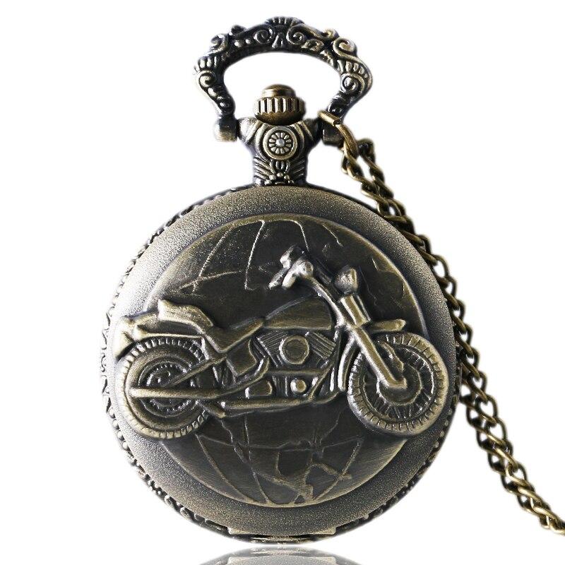 Vintage Bronze Motorcycle Theme Quartz Pocket Watch With Pendant Necklace Chain For Men Women Best Gift Reloj De Bolsillo